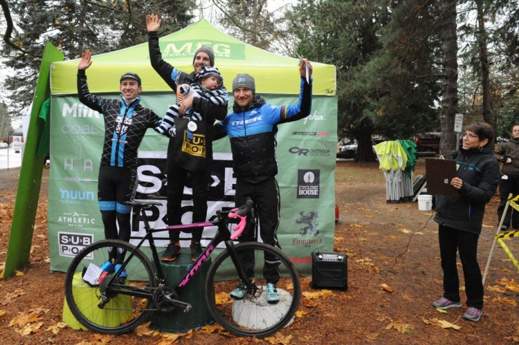 Men's podium: Paxson, Fisher and Stevenson. 2017 MFG Cyclocross Woodland Park. photo: courtesy