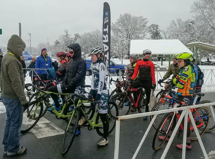 A small, cold women's field at the 2017 North Carolina Grand Prix Day 1. photo: Laura Rice
