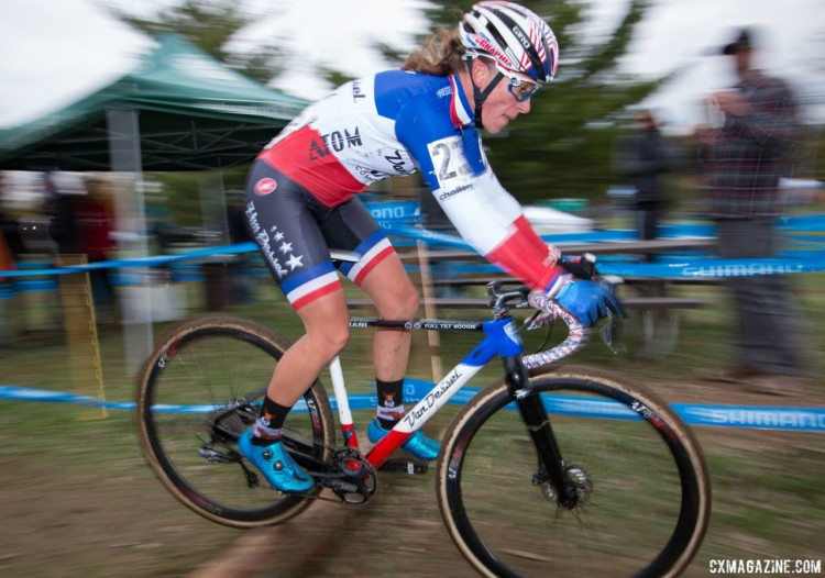 Caroline Mani has hopped on Van Dessel's Full Tilt Boogie this year, and enjoyed much success. Elite Women, 2017 Cincinnati Cyclocross, Day 2, Harbin Park. © Cyclocross Magazine