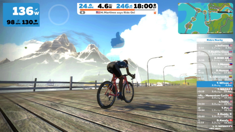 Zwift allows you and your avatar to ride around virtual worlds. photo: courtesy