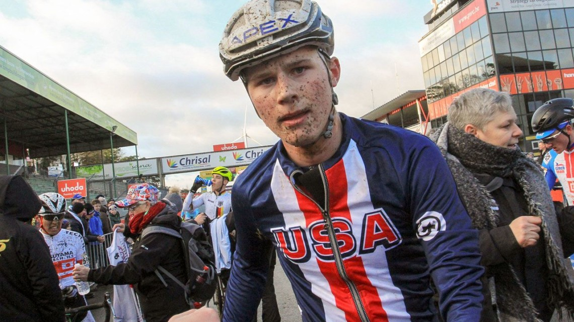 Greg Gunsalus (AP Junior Devo p/b Corner Cycle) got to take home some mud for his effort. 2017 World Cup Zolder. © B. Hazen / Cyclocross Magazine
