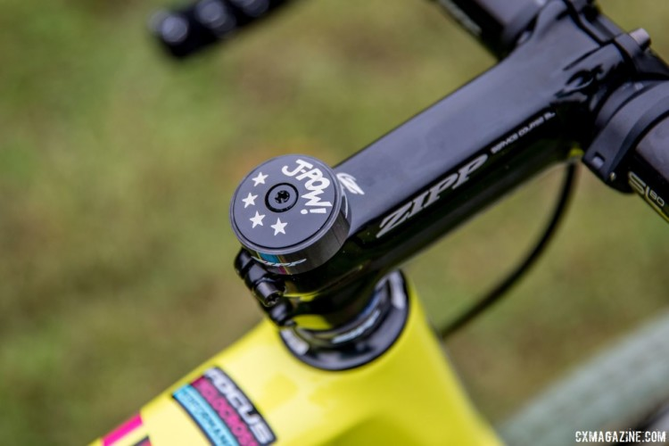 A custom J-Pow! headset cap adorns Powers' bikeJeremy Powers' 2017 Pan-Ams Focus Mares. © D. Perker / Cyclocross Magazine