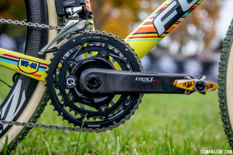 Powers uses a Quarq DZero spider-based power meter on his SRAM Red crankset. Both are unusual choices. Jeremy Powers' 2017 Pan-Ams Focus Mares. © D. Perker / Cyclocross Magazine