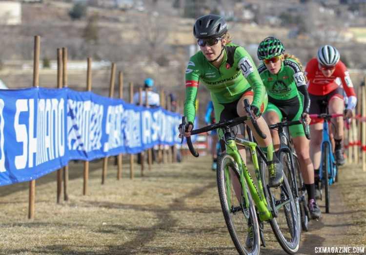 Emma White started fast and worked to hold off the eventual dual-podium Katie Clouse. 2018 Cyclocross National Championships. © D. Mable/ Cyclocross Magazine
