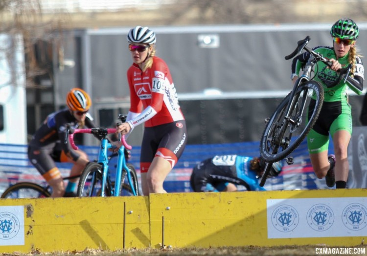Rathbun and Clouse hurdle the barriers while Swartz hit the deck. 2018 Cyclocross National Championships. © D. Mable/ Cyclocross Magazine