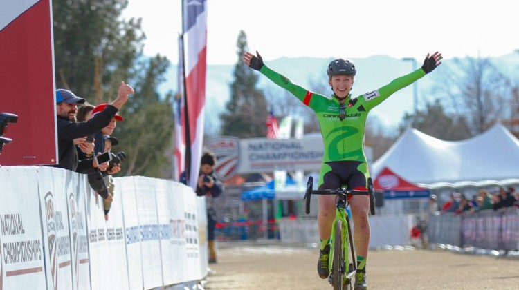 Emma White celebrates her U23 national championship. 2018 Cyclocross National Championships. © D. Mable/ Cyclocross Magazine