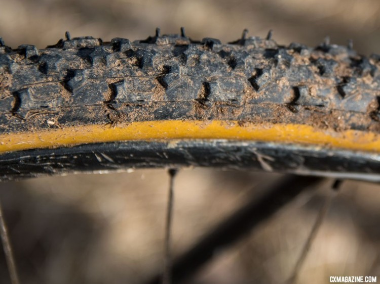 Funston's second bike featured Challenge tubulars. He ran this Limus in the back for traction for his surprise ride-up of the run-up. Unlike his front Baby Limus, it was not a Team Edition model. 2018 Cyclocross National Championships. © C. Lee / Cyclocross Magazine