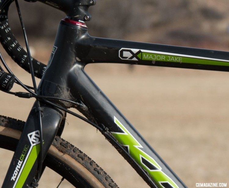 Although redesigned since, Funston's carbon Major Jake from 2016 proved it was nowhere close to its expiration date. Shift cables are routed internally while brake hoses stay outside. 2018 Cyclocross National Championships. © C. Lee / Cyclocross Magazine