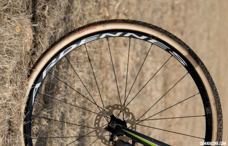 No carbon footprint here. Funston rolled on HED Ardennes alloy tubulars, and up front relied on a Challenge Baby Limus for his final half lap. 2018 Cyclocross National Championships. © C. Lee / Cyclocross Magazine