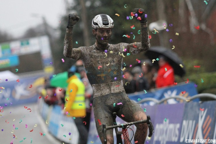 The traditional confetti stood out against the mud. 2018 GP Sven Nys Baal. © B. Hazen / Cyclocross Magazine