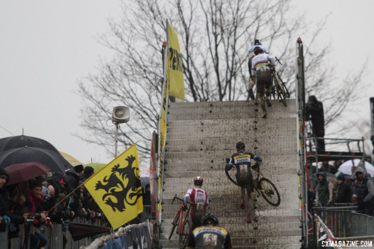 Riders head up and over the flyover. 2018 GP Sven Nys Baal. © B. Hazen / Cyclocross Magazine