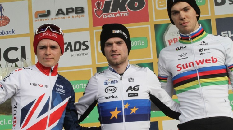 U23 Men's podium and list of likely favorites for Worlds: Eli Iserbyt, Tom Pidcock and Joris Nieuwenhuis. 2018 Hoogerheide World Cup, U23 Men. © B. Hazen / Cyclocross Magazine