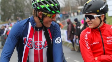 Gage Hecht and Tom Pidcock chat before the race. 2018 Hoogerheide World Cup, U23 Men. © B. Hazen / Cyclocross Magazine