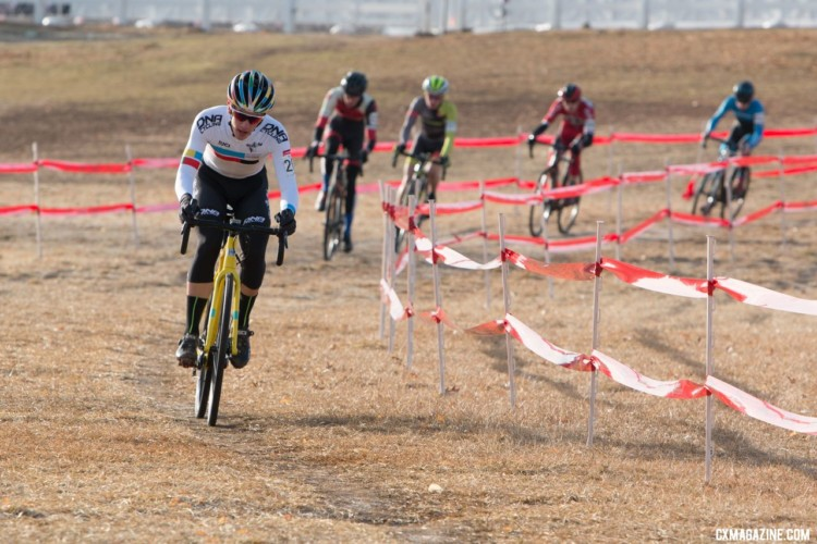 The early selection. Junior Men 17-18. 2018 Cyclocross National Championships. © A. Yee / Cyclocross Magazine