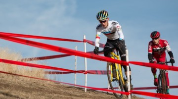 Ben Gomez Villafañe took the win over Scott Funston. Junior Men 17-18. 2018 Cyclocross National Championships. © A. Yee / Cyclocross Magazine
