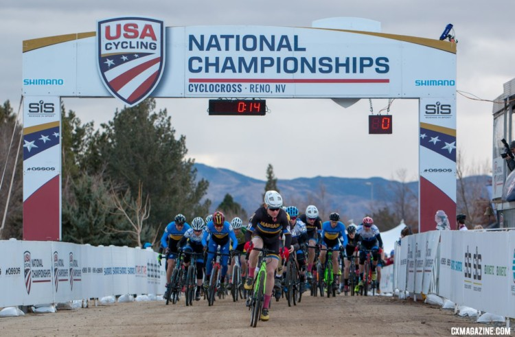 Cade Bickmore got out to a fast start on Wednesday. 2018 Cyclocross National Championships, Collegiate Varsity Men. © A. Yee / Cyclocross Magazine