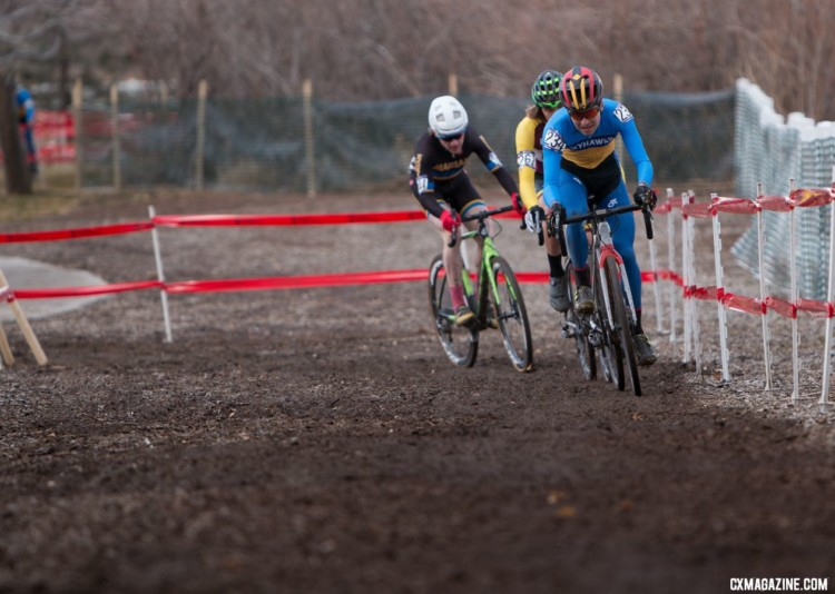 The early leaders were Nadell, Fix and Bickmore. 2018 Cyclocross National Championships, Collegiate Varsity Men. © A. Yee / Cyclocross Magazine