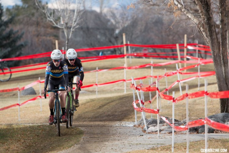 Caleb Swartz and Cade Bickmore tried to chase the leaders down. 2018 Cyclocross National Championships, Collegiate Varsity Men. © A. Yee / Cyclocross Magazine