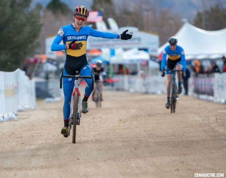 Henry Nadell points to his teammate Stephan Davoust, celebrating their 1-2 finish in Reno. 2018 Cyclocross National Championships. © A. Yee / Cyclocross Magazine