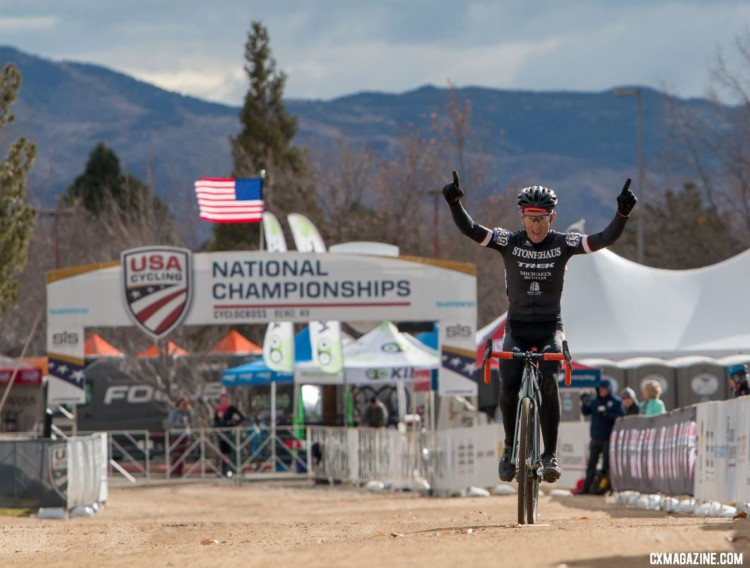 Jon Miller of California won the Masters 65-69 race. 2018 Cyclocross National Championships. © A. Yee / Cyclocross Magazine