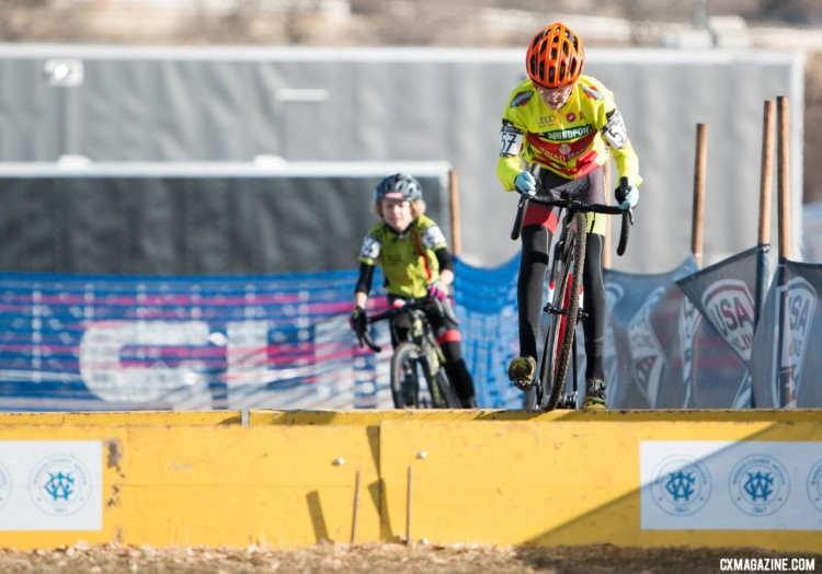 Barrier hopping was in order for Ryan Drummond. 2018 Cyclocross National Championships. © A. Yee / Cyclocross Magazine