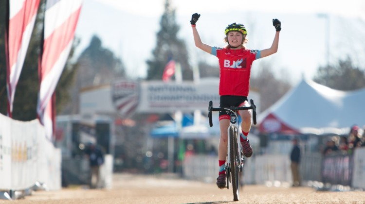 Henry Rapinz of Boulder celebrates his Junior Men's 11-12 win. 2018 Cyclocross National Championships. © A. Yee / Cyclocross Magazine