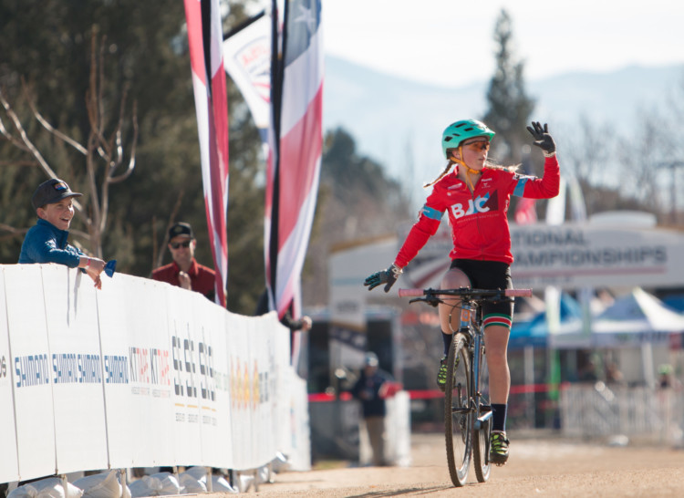 Haydn Hludzinski celebrates her Women's Junior 11-12 win. 2018 Cyclocross National Championships. © A. Yee / Cyclocross Magazine