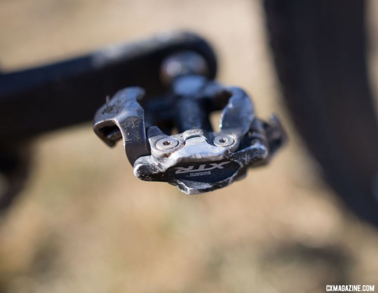 Hludzinski switched to SPD this year, using the top of the line XTR PD-M9000. 2018 Cyclocross National Championships. © A. Yee / Cyclocross Magazine