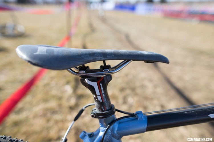 Hludzinski's San Marco saddle is not drastically lower than Dombroski's was, but there's still plenty of room to grow. 2018 Cyclocross National Championships. © A. Yee / Cyclocross Magazine