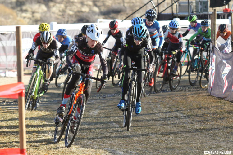 The Junior 13-14 men get out to a fast start. Junior Men 13-14. 2018 Cyclocross National Championships. © D. Mable/ Cyclocross Magazine