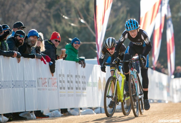 Luke Heinrich eked out a sprint win to take the Junior Men's 13-14 title. 2018 Cyclocross National Championships. © A. Yee / Cyclocross Magazine