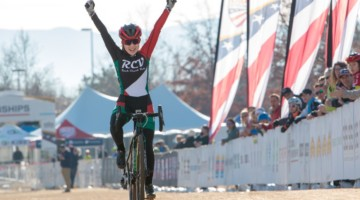 Katherine Sarkisov celebrates her Junior Women's 13-14 title. 2018 Cyclocross National Championships. © A. Yee / Cyclocross Magazine