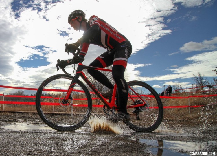 William Warburton splashes through one of the few remaining puddles on the course. 2018 Cyclocross National Championships. © D. Mable/ Cyclocross Magazine