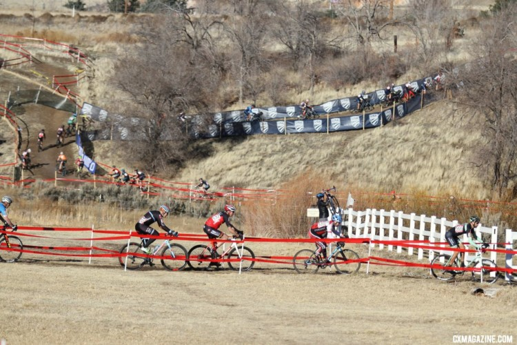 As the lead group settled in, a large field worked its way around the course. Masters 45-49. 2018 Cyclocross National Championships. © D. Mable/ Cyclocross Magazine