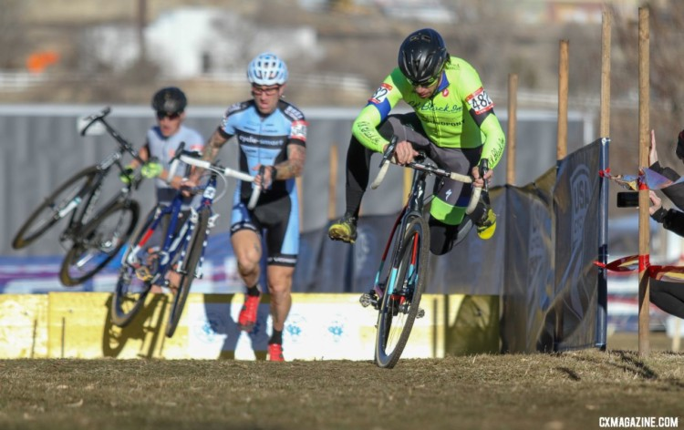 Paul Bonds put the pressure on early. Masters 45-49. 2018 Cyclocross National Championships. © D. Mable/ Cyclocross Magazine