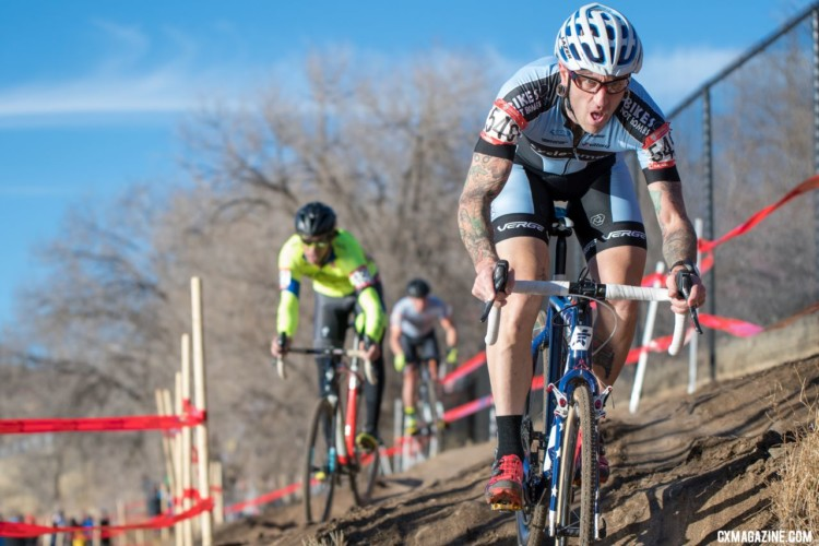 Adam Myerson was strong on the descents all race long. Masters 45-49. 2018 Cyclocross National Championships. © J. Vander Stucken / Cyclocross Magazine