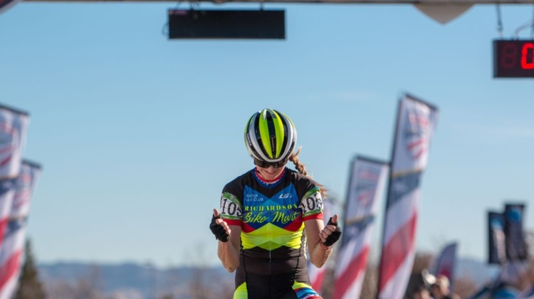 Christina Gokey-Smith celebratets her Masters 45-49 win. Masters Women 45-49. 2018 Cyclocross National Championships. © A. Yee / Cyclocross Magazine