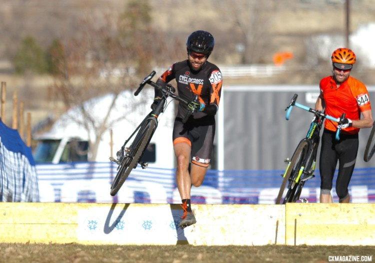 Can't report on the racing without one of us sampling it, and hunting for the emerging tire-piercing rocks. Mission accomplished. Masters 45-49. 2018 Cyclocross National Championships. © D. Mable/ Cyclocross Magazine