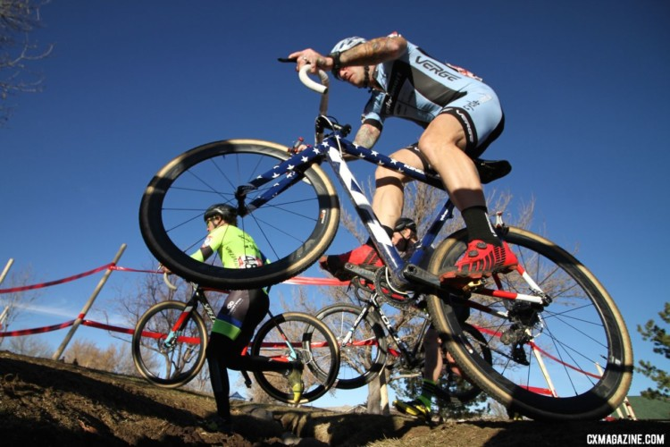 Hopping the Little Loenhout ditch was one of the skills Myerson brought to the Reno course. Masters 45-49. 2018 Cyclocross National Championships. © D. Mable/ Cyclocross Magazine