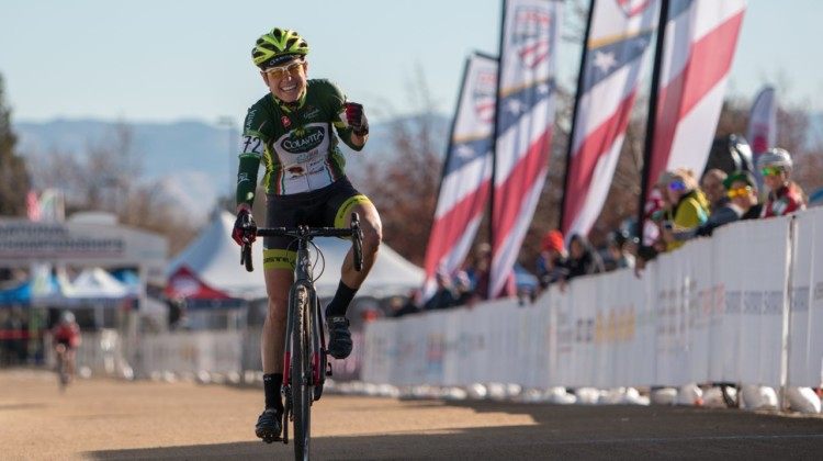Stacey Barbossa won the Masters 50-54 race in her sixth try. Masters Women 50-54. 2018 Cyclocross National Championships. © A. Yee / Cyclocross Magazine