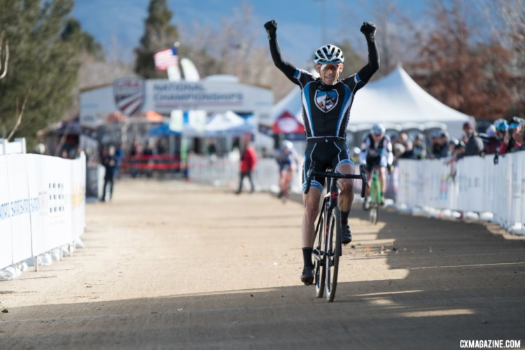 Christoph Heinrich celebrates his win. Masters 50-54. 2018 Cyclocross National Championships. © J. Vander Stucken / Cyclocross Magazine