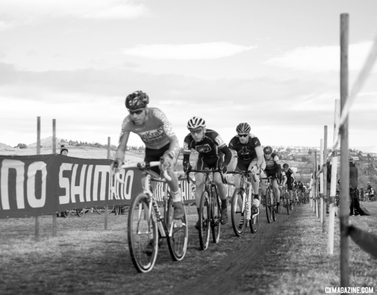 The Masters 50-54 field gets underway. Christoph Heinrich was in a good spot to move off the front. Masters 50-54. 2018 Cyclocross National Championships. © J. Vander Stucken / Cyclocross Magazine