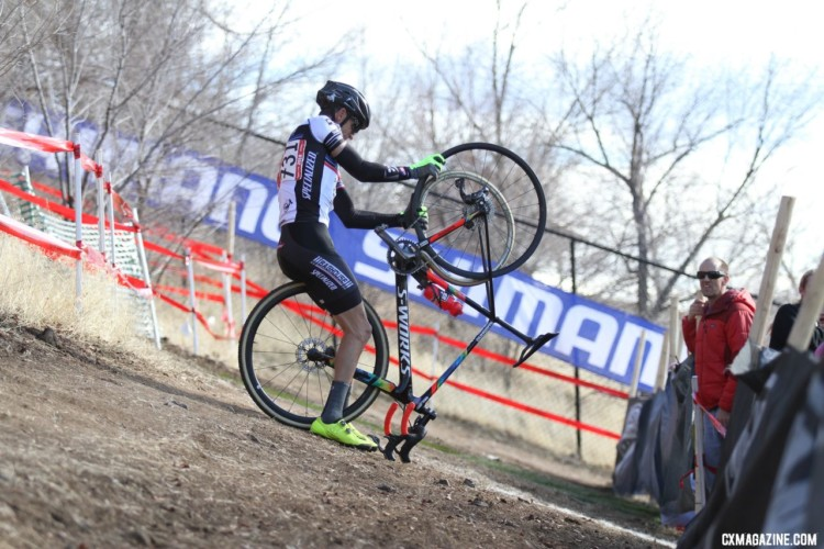 Victor Sheldon suffered a rolled tubular, ending his time at the front. Masters 50-54. 2018 Cyclocross National Championships. © D. Mable/ Cyclocross Magazine