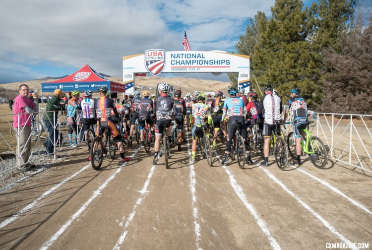 Riders line up at the start. Masters 55-59. 2018 Cyclocross National Championships. © J. Vander Stucken / Cyclocross Magazine