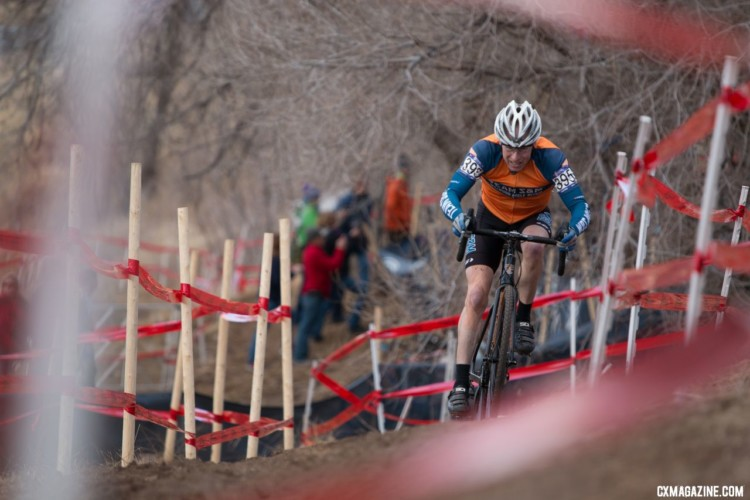 John Wilson grabbed the holeshot and then sat behind Bob Downs before double flatting. Masters 60-64. 2018 Cyclocross National Championships. © A. Yee / Cyclocross Magazine