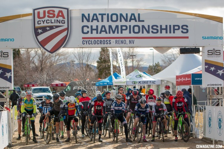 Masters 65-69 Men get set to head out onto the course. Masters 65-69. 2018 Cyclocross National Championships. © A. Yee / Cyclocross Magazine