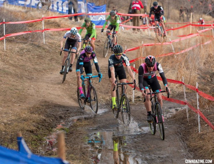 Powers strung out the pack from the start. 2018 Cyclocross National Championships. © A. Yee / Cyclocross Magazine