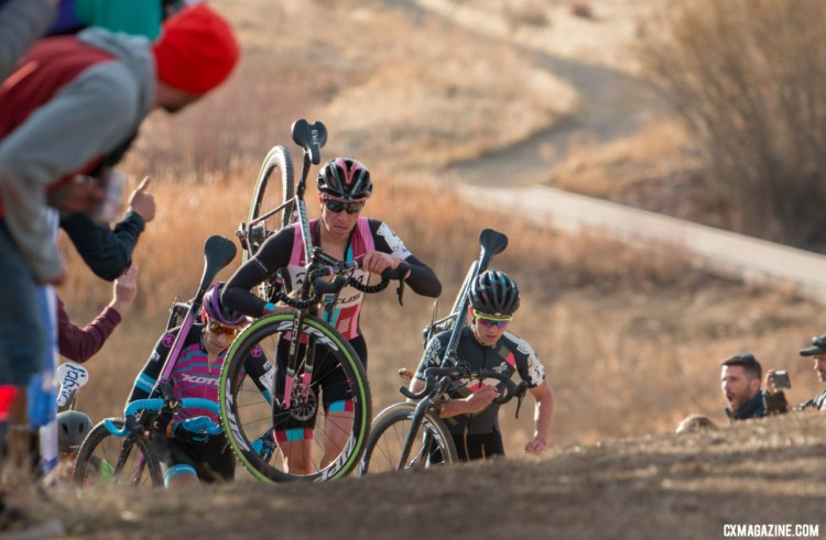 The early leaders on the run-up. 2018 Cyclocross National Championships. © A. Yee / Cyclocross Magazine
