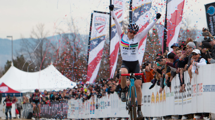 Katie Compton celebrates her 14th-straight national championship. 2018 Cyclocross National Championships. © A. Yee / Cyclocross Magazine