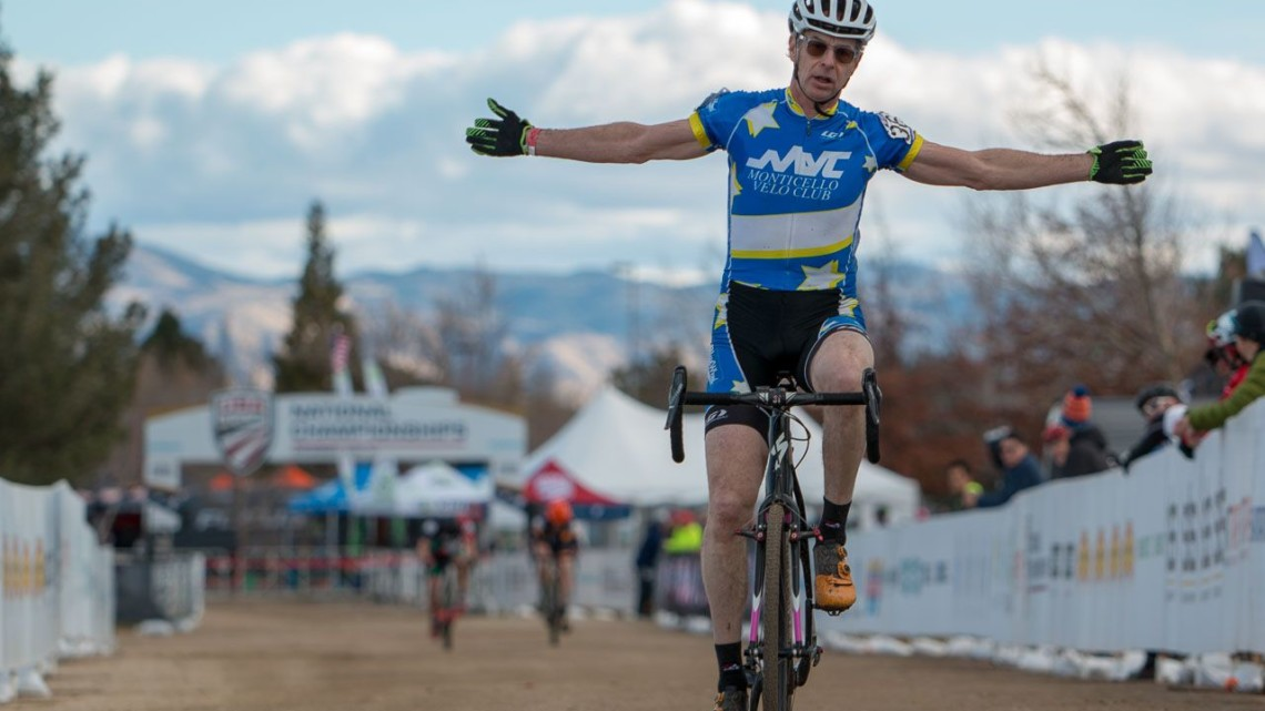 Scott Paisley celebrates his win in the Masters 60-64 race. 2018 Cyclocross National Championships. © A. Yee / Cyclocross Magazine